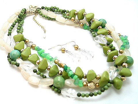 BOHO NATURAL STONE LIGHT OLIVE GREEN CREAM CERAMIC BEAD SET