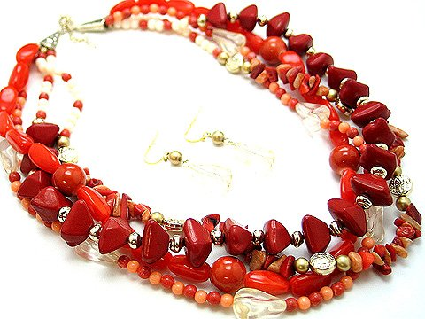 BOHO NATURAL STONE RED PINK CERAMIC BEAD SET