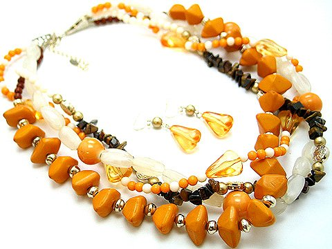 BOHO NATURAL STONE ORANGE CERAMIC BEAD SET