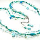LONG BLUE TURQUOISE AQUA BOHO INDIAN GLASS WOOD FAUX PEARL SHELL SEED BEAD NECKLACE SET