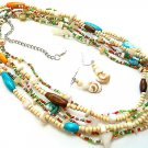 LONG MULTI COLOR BOHO INDIAN GLASS WOOD FAUX PEARL SHELL SEED BEAD NECKLACE SET