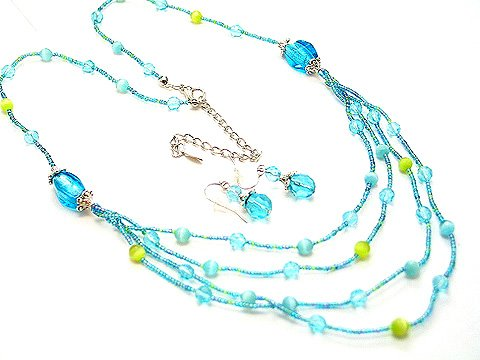 MULTI STRAND LIGHT BLUE GLASS BEAD NECKLACE SET