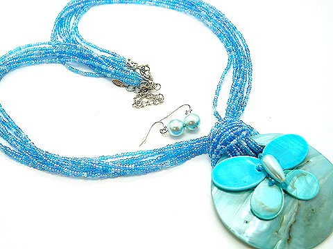 LONG CHUNKY BLUE MULTI STRAND BUTTERFLY SHELL NECKLACE SET