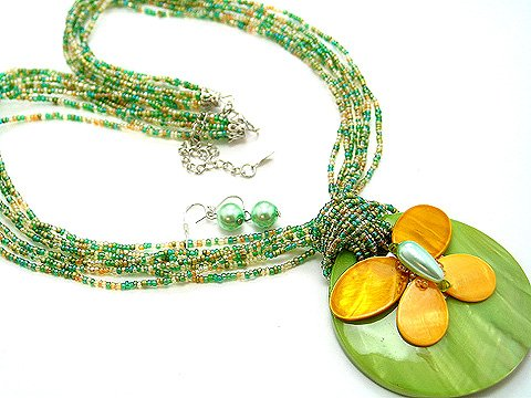LONG CHUNKY OLIVE GREEN MULTI STRAND BUTTERFLY SHELL NECKLACE SET