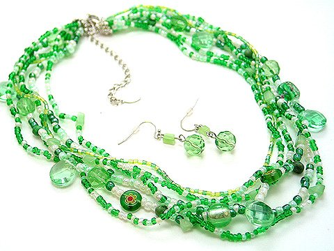 OLIVE GREEN BOHO INDIAN GLASS SHELL SEED BEAD NECKLACE SET