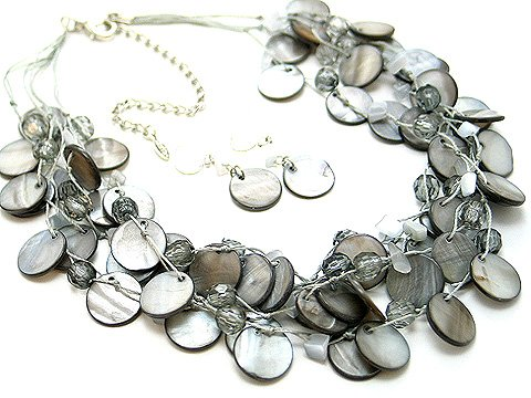 GRAY MULTI STRAND NATURAL STONE SHELL NECKLACE SET