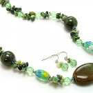 OLIVE GREEN BOHO WOOD BEAD NECKLACE SET