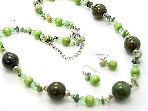 LONG OLIVE GREEN BOHO NATURAL STONE CERAMIC WOOD BEAD NECKLACE SET