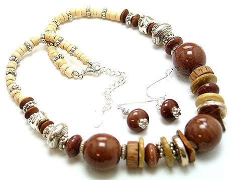 BROWN MOCHA BOHO CERAMIC WOOD BEAD NECKLACE SET