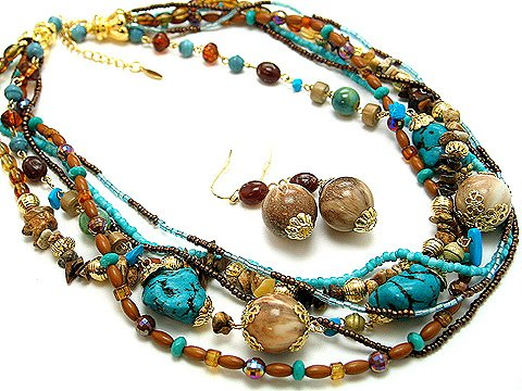 BOHO NATURAL STONE BLUE TURQUOISE AQUA BROWN CREAM CERAMIC BEAD SET