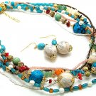 BOHO NATURAL STONE BLUE TURQUOISE AQUA CERAMIC BEAD SET