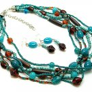 BLUE TURQUOISE BROWN BOHO INDIAN GLASS WOOD SEED BEAD NECKLACE SET