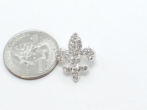 FRENCH FLEUR DE LIS NEW ORLEANS AUSTRIAN CRYSTAL BROOCH PIN