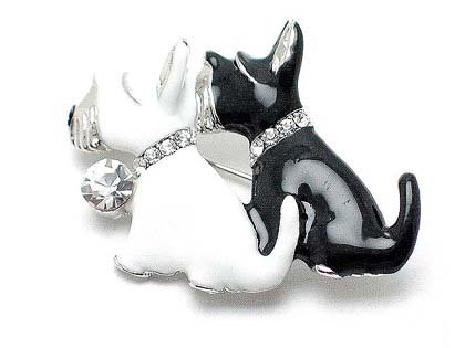BLACK WHITE SCOTTISH TERRIER DOG DOGS CANINE AUSTRIAN CRYSTAL BROOCH PIN
