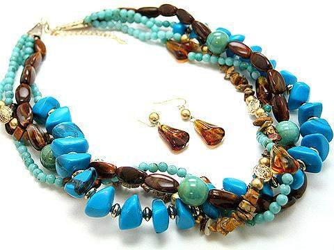 BOHO NATURAL STONE BLUE TURQUOISE AQUA BROWN CERAMIC BEAD SET