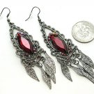 DANGLING RED RUBY SIMULATED LEAF LEAVES EARRINGS