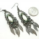 DANGLING OLIVE GREEN FAUX PERIDOT LEAF LEAVES EARRINGS