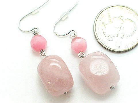 LIGHT PINK ROSE GLASS BEAD EARRINGS
