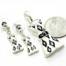BLACK AND WHITE ZEBRA ANIMAL PRINT DRESS PENDANT AND EARRING SET