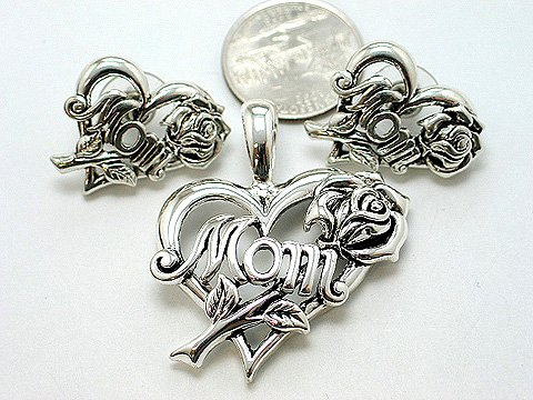 MOTHER MOTHER'S DAY HEART ROSE PENDANT AND EARRING SET