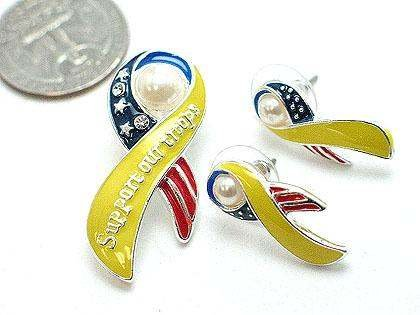 USA YELLOW SUPPORT OUR TROOPS RIBBON PENDANT EARRING SET