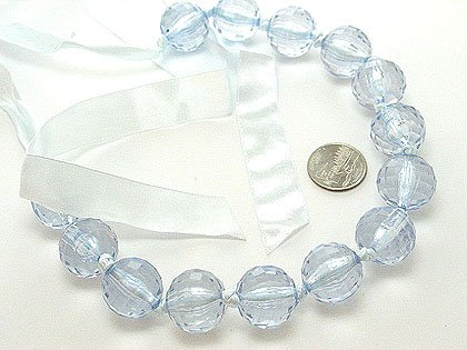 CHUNKY SINGLE ROW LIGHT BLUE LUCITE BEAD BALL NECKLACE