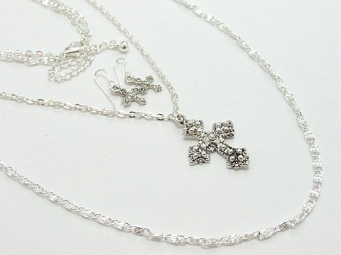 RELIGIOUS DOUBLE STRAND CROSS NECKLACE SET