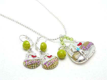 I LOVE TENNIS PURSE BAG LOCKET SET