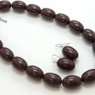 SINGLE ROW BROWN LUCITE BEAD BALL NECKLACE SET