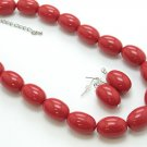 SINGLE ROW RED LUCITE BEAD BALL NECKLACE SET