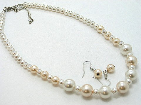 SINGLE STRAND NATURAL CREAM CREME OFF WHITE FAUX PEARL GLASS BEAD NECKLACE SET
