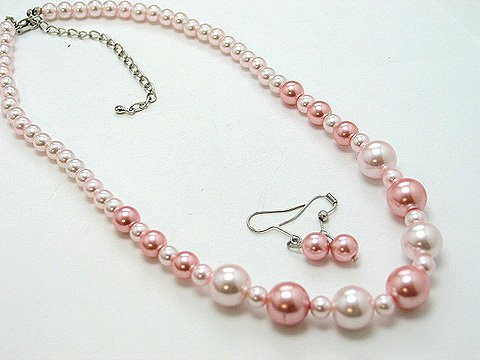 SINGLE STRAND LIGHT PINK ROSE FAUX PEARL GLASS BEAD NECKLACE SET
