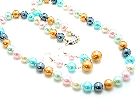 LONG SINGLE STRAND MULTI COLOR PEARL GLASS BEAD NECKLACE SET