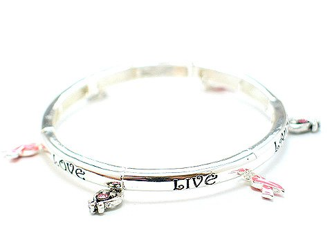 PINK RIBBON BREAST CANCER AWARENESS LIVE LOVE LAUGH BRACELET