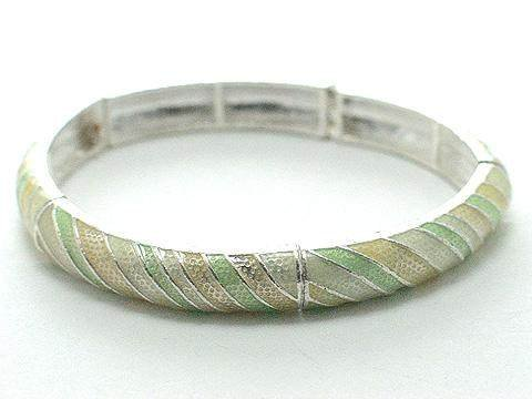 PASTEL LIGHT GREEN YELLOW CREAM CREME BANGLE BRACELET