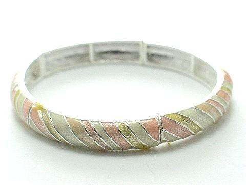 PASTEL LIGHT PEACH YELLOW CREAM CREME BANGLE BRACELET