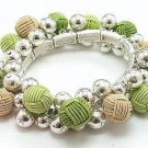 LIGHT OLIVE GREEN BROWN TAN METAL BEAD CORD BALL BRACELET