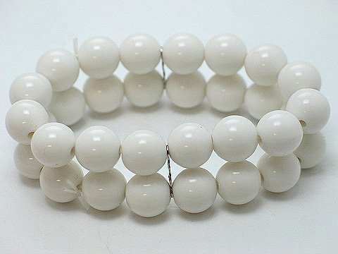 WHITE TWO ROW LUCITE BEAD BALL BRACELET