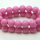 HOT PINK FUSCHIA TWO ROW LUCITE BEAD BALL BRACELET