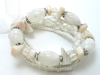 OFF WHITE CREAM CREME NATURAL MULTI STRAND LUCITE BEAD BALL BRACELET