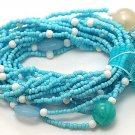 LIGHT BLUE TURQUOISE AQUA MULTI STRAND LUCITE BEAD BALL RIBBON BRACELET