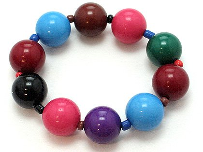 DARK MULTI COLOR SINGLE ROW LUCITE BEAD BALL BRACELET