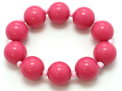 HOT PINK ROSE FUSCHIA SINGLE ROW LUCITE BEAD BALL BRACELET