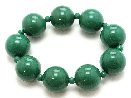 DARK OLIVE GREEN SINGLE ROW LUCITE BEAD BALL BRACELET