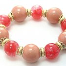 PEACH CORAL RED SINGLE ROW LUCITE BEAD BALL BRACELET