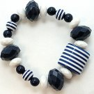 BLUE WHITE STRIPE SINGLE ROW LUCITE BEAD BALL BRACELET