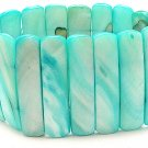 LIGHT BLUE TEAL SHELL BANGLE BRACELET