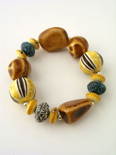BOHO YELLOW BROWN BEAD BRACELET