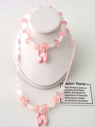 KIDS CHILDS GIRLS BALLET BALLERINA SHOE BEAD NECKLACE AND BRACELET SET