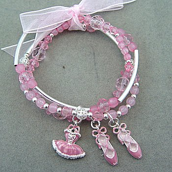 KIDS GIRLS THREE BRACELET BALLET SHOES BEAD PINK RIBBON BRACELET